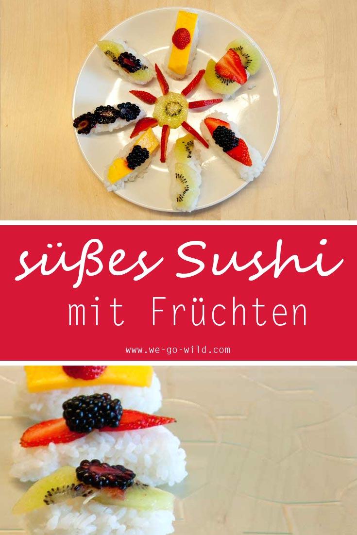 Frucht sushi mit Milchreis