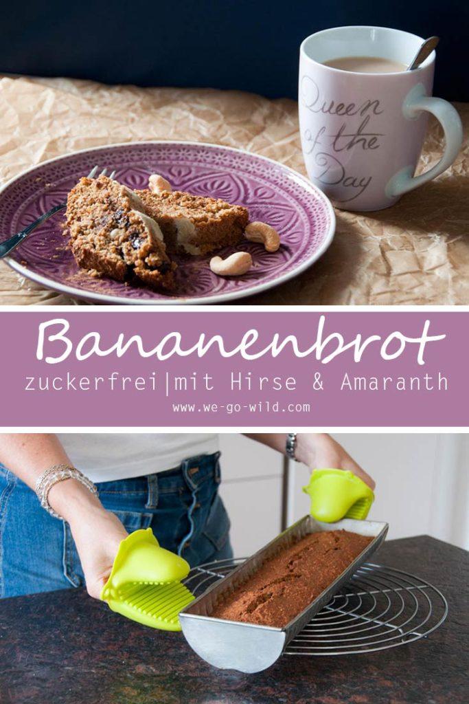 Gesundes Bananenbrot ohne Zucker mit Amaranth und Hirse