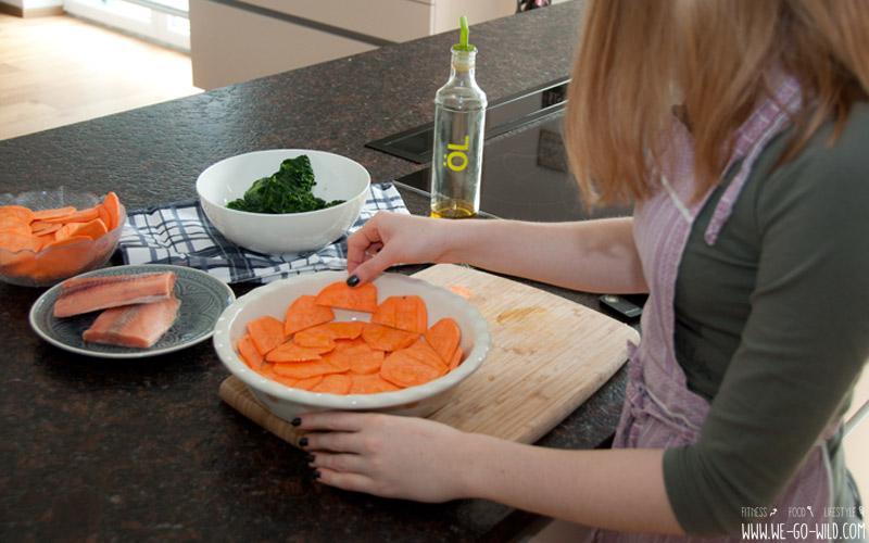 Rezept für Quiche ohne Fleisch - mit Süßkartoffeln Lachs und Spinat