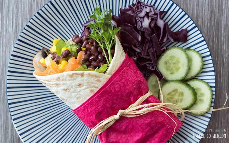 Vegane Wraps mit Bohnen und Gemüse
