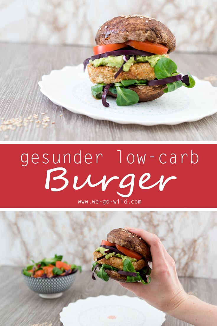 Ein low carb Burger aus Portobello Pilze - vegetarisches Burger Rezept