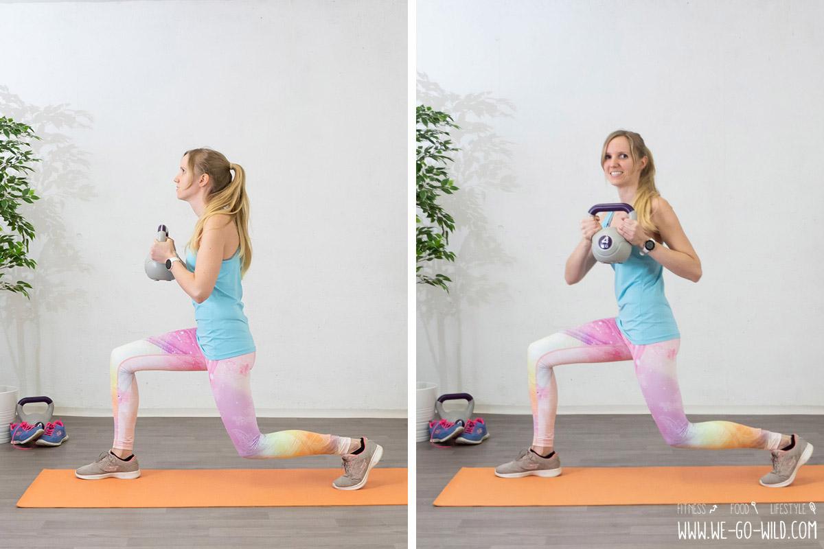 Estocadas con rotación para el entrenamiento de piernas en casa con o sin peso