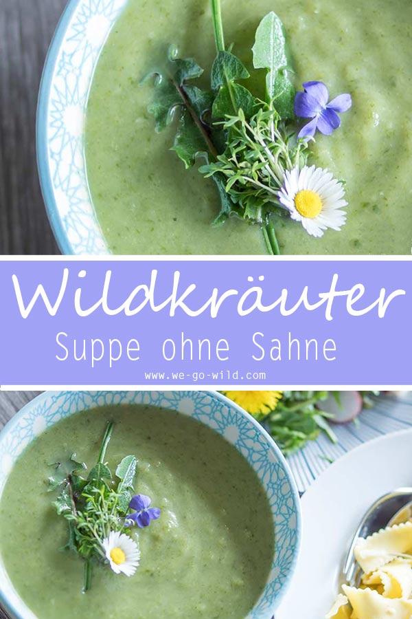 Wildkräuter Rezept: Vegane Suppe mit frischen Kräutern