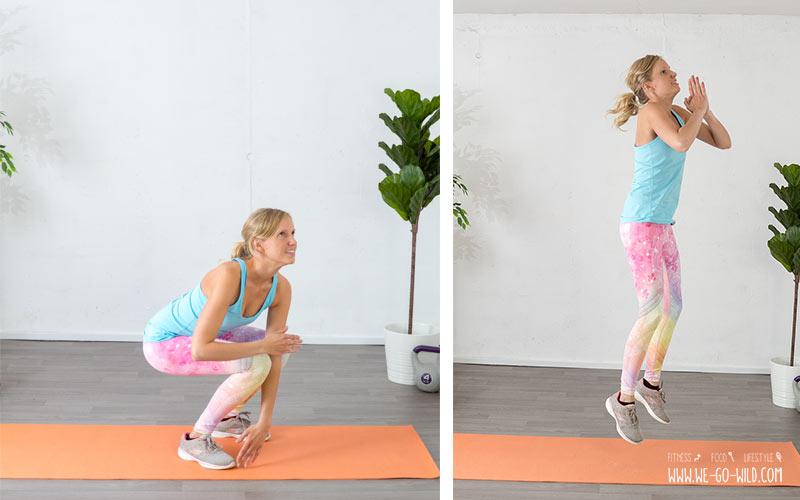 Training mit dem eigenen Körpergewicht: Squats mit Sprung