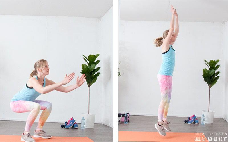 Bauch Beine Po Übungen für zuhause mit Kniebeugen und Squats zum Knackpo