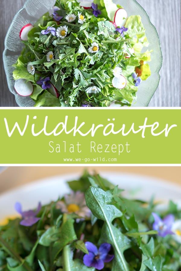 Das beste aller Wildkräuter Rezepte: Salat mit essbaren wilden Kräutern und Blüten #wildkräuter #frühling #salat