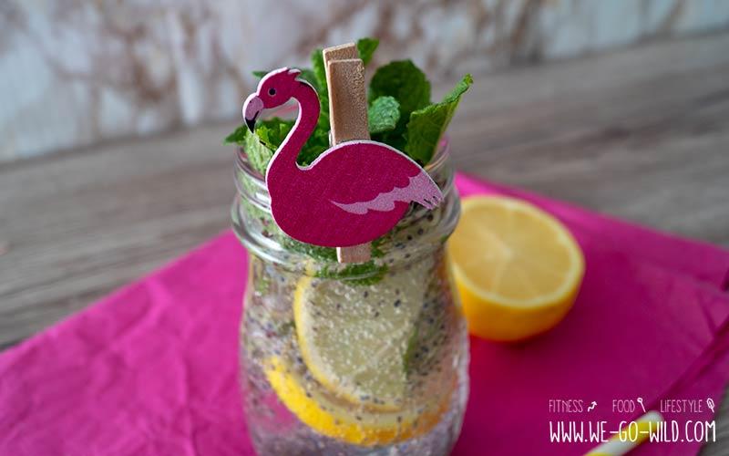 Basilikum Samen Getränk mit Zitrone, Pfefferminze und Ingwer