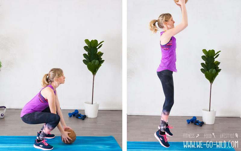 Medizinball Übungen Squats mit Sprung