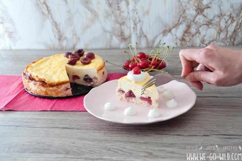 Saftiger Low Carb Kasekuchen Mit Kirschen Und Vanille