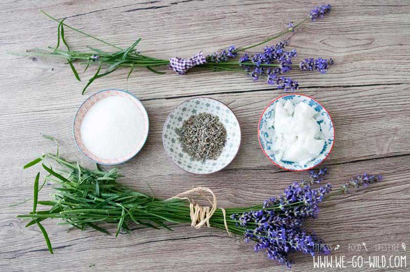 Peeling selber machen mit Kokosöl und Lavendel
