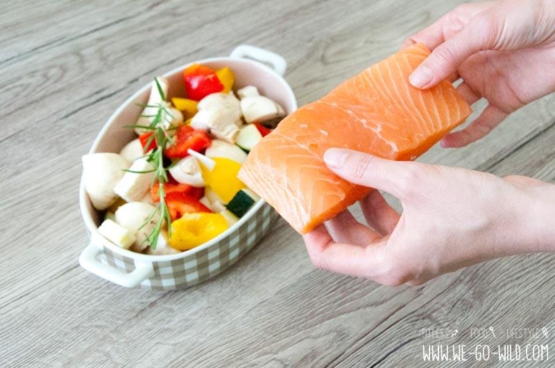 Gemüse aus dem Ofen mit Lachs