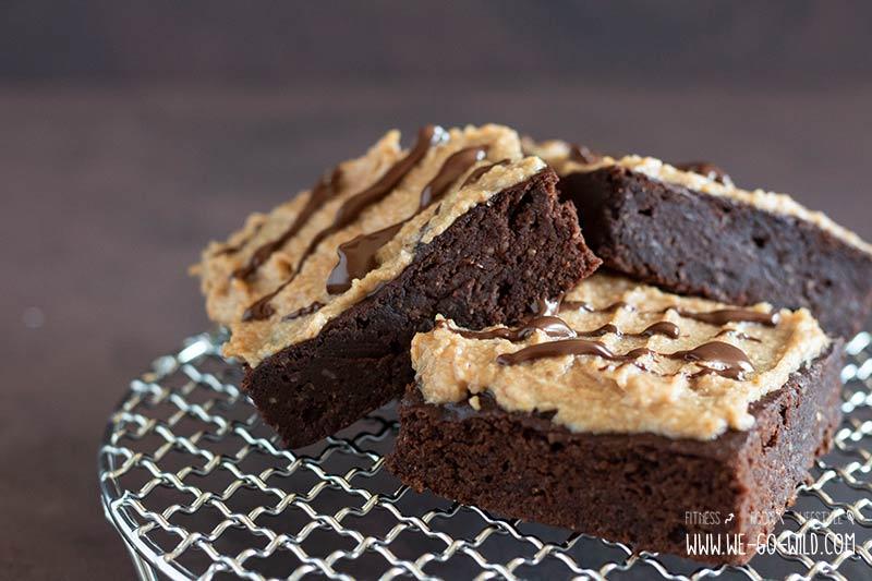 Kaffee Schoko Brownies Vegan Mit Erdnussbutter Topping